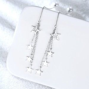 NEW 925 Sterling Silver Pearl Star Drop Earrings